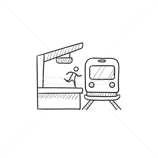 Man runs along train station platform sketch icon. Stock photo © RAStudio