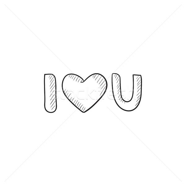 Afkorting liefde schets icon vector geïsoleerd Stockfoto © RAStudio