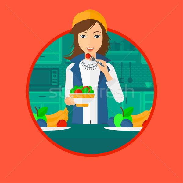 Donna mangiare sano vegetali insalata mangiare Foto d'archivio © RAStudio
