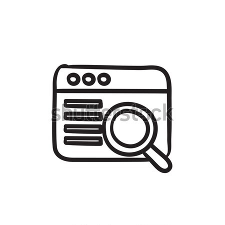 Browser window with magnifying glass  sketch icon. Stock photo © RAStudio