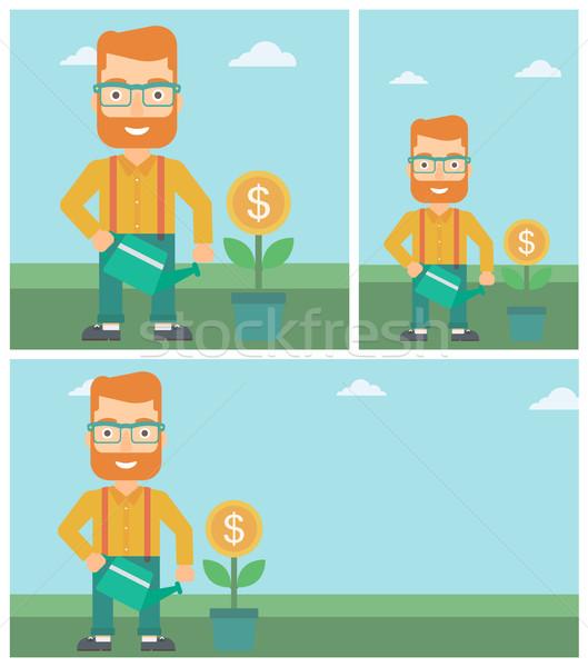 üzletember locsol pénz virág fiatal hipszter Stock fotó © RAStudio