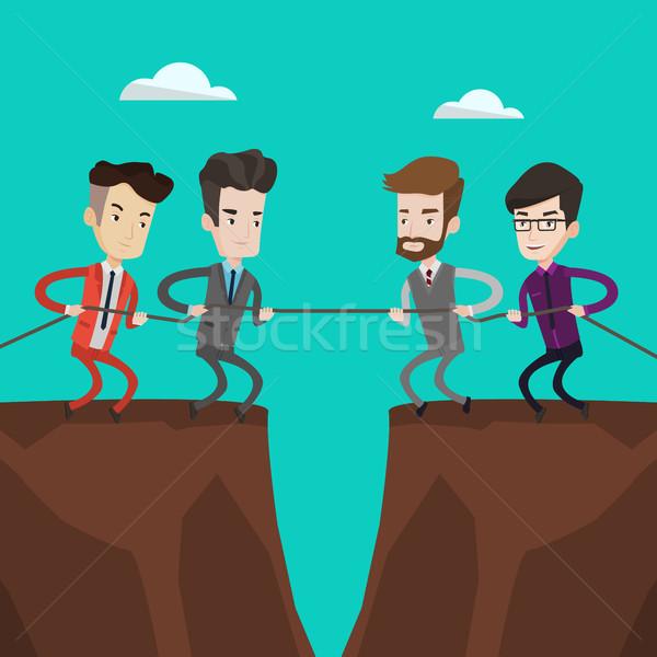 Dwa grup ludzi biznesu liny Urwisko Zdjęcia stock © RAStudio