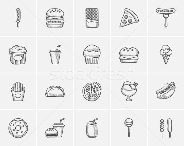 Egészségtelen étel rajz ikon gyűjtemény háló mobil infografika Stock fotó © RAStudio