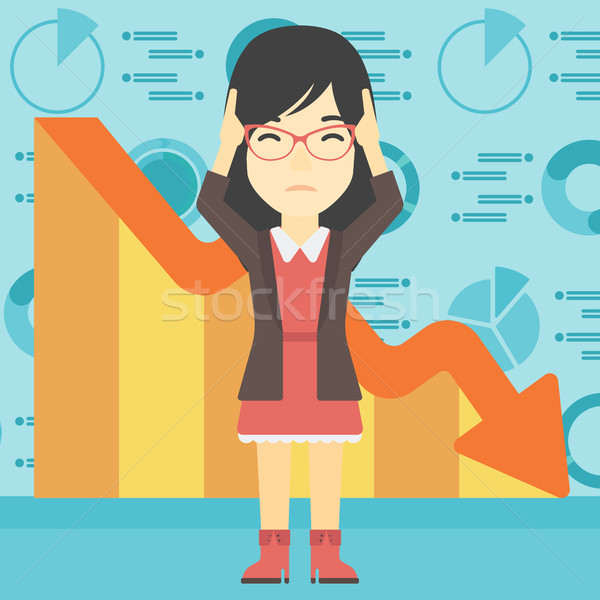 Bankrupt clutching her head vector illustration. Stock photo © RAStudio