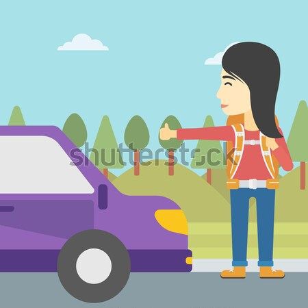 Young man hitchhiking vector illustration. Stock photo © RAStudio