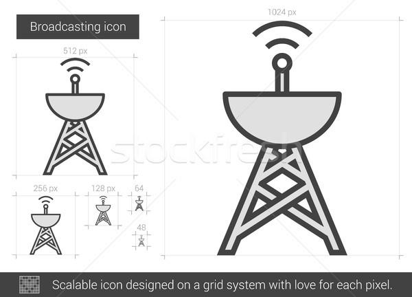 Radiodifusión línea icono vector aislado blanco Foto stock © RAStudio