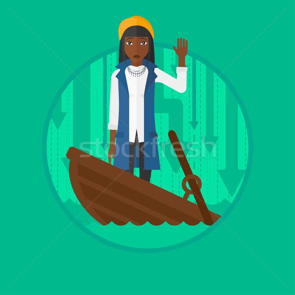 Mulher de negócios em pé barco assustado Foto stock © RAStudio