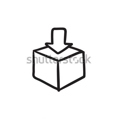 Brievenbus schets icon vector geïsoleerd Stockfoto © RAStudio
