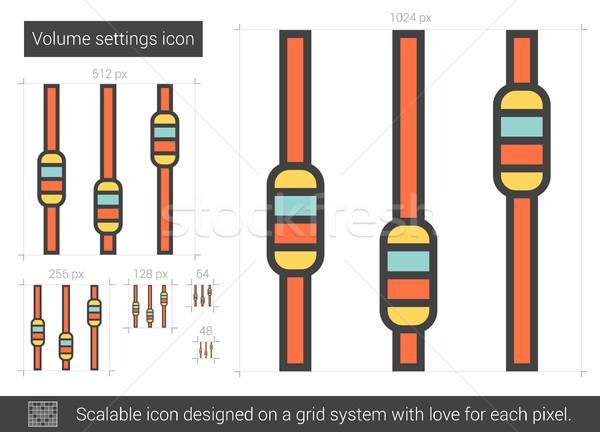 Hangerő beállítások vonal ikon vektor izolált Stock fotó © RAStudio