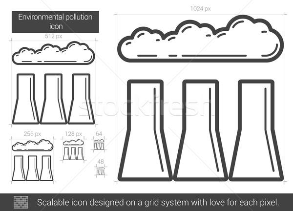 Környezeti szennyezés vonal ikon vektor izolált Stock fotó © RAStudio