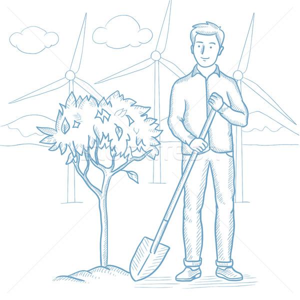 Man plants tree vector sketch illustration. Stock photo © RAStudio