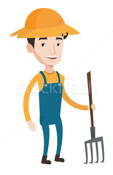 Farmer with pitchfork vector illustration. Stock photo © RAStudio