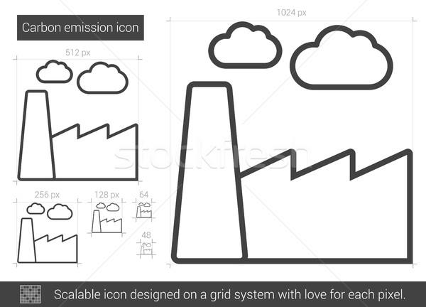 Koolstof emissie lijn icon vector geïsoleerd Stockfoto © RAStudio