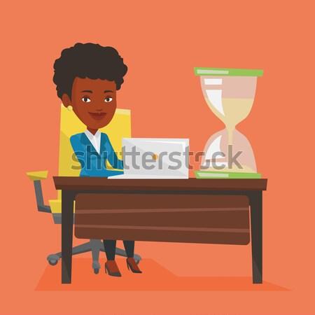 Businessman working in office vector illustration. Stock photo © RAStudio