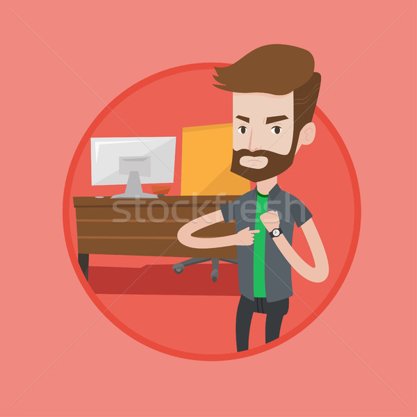 Boos zakenman wijzend werkgever Stockfoto © RAStudio