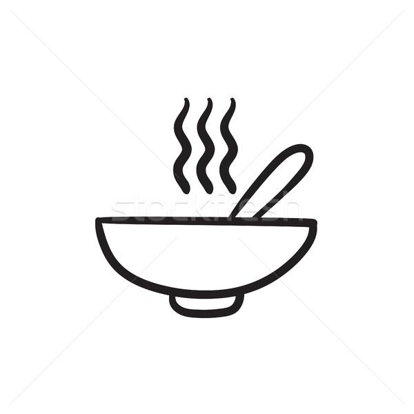 商业照片 / 矢量图: 碗 · 热 · 汤 · 勺子 · 素描 · 图标