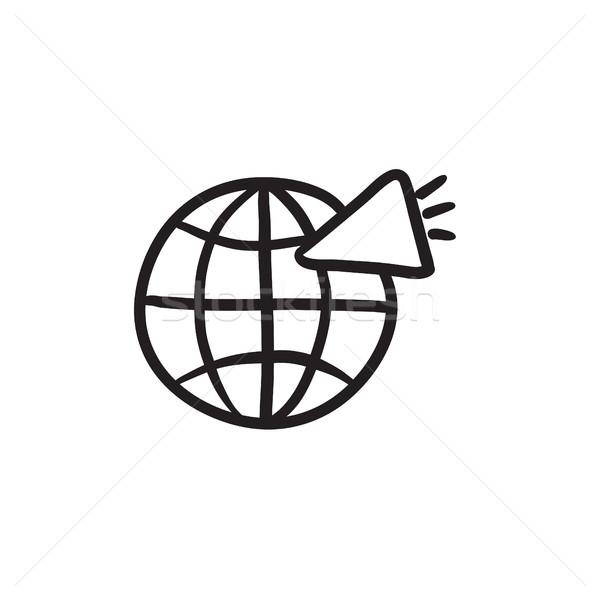 Mundo altavoz boceto icono vector aislado Foto stock © RAStudio
