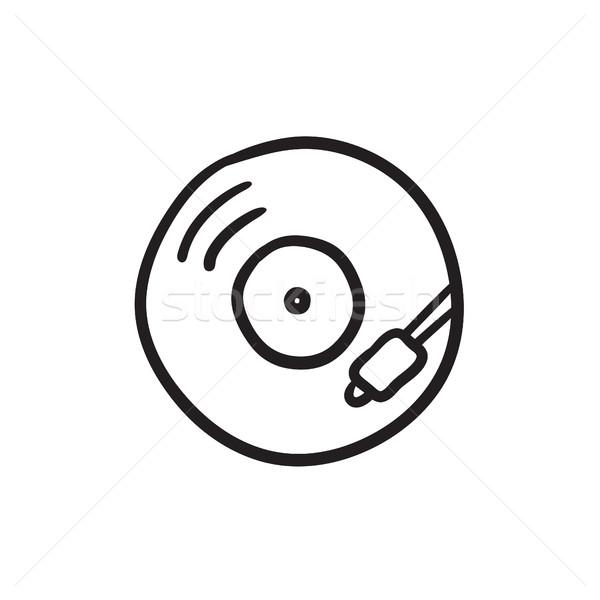 Lemezjátszó rajz ikon vektor izolált kézzel rajzolt Stock fotó © RAStudio