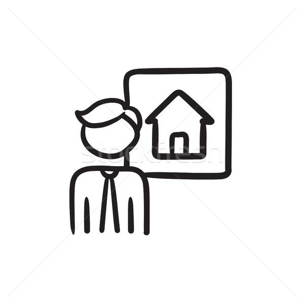 Agente immobiliare sketch icona vettore isolato Foto d'archivio © RAStudio