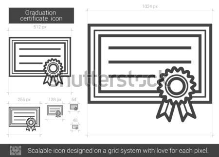 Сток-фото: окончания · сертификата · линия · икона · вектора · изолированный