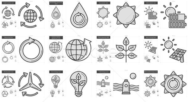 Ecology line icon set. Stock photo © RAStudio