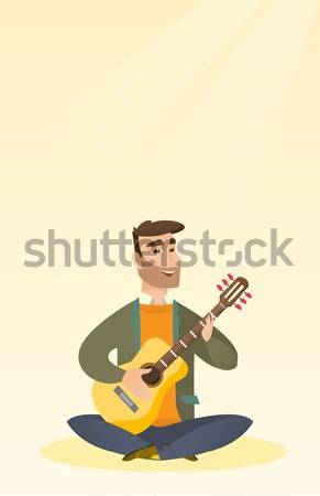 Man playing acoustic guitar vector illustration. Stock photo © RAStudio