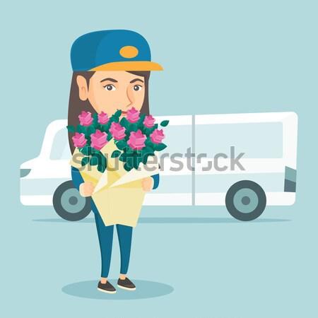 Stock foto: Lieferung · Kurier · halten · Bouquet · Blumen · Lieferwagen