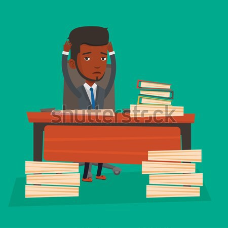 Despair man sitting in office vector illustration. Stock photo © RAStudio