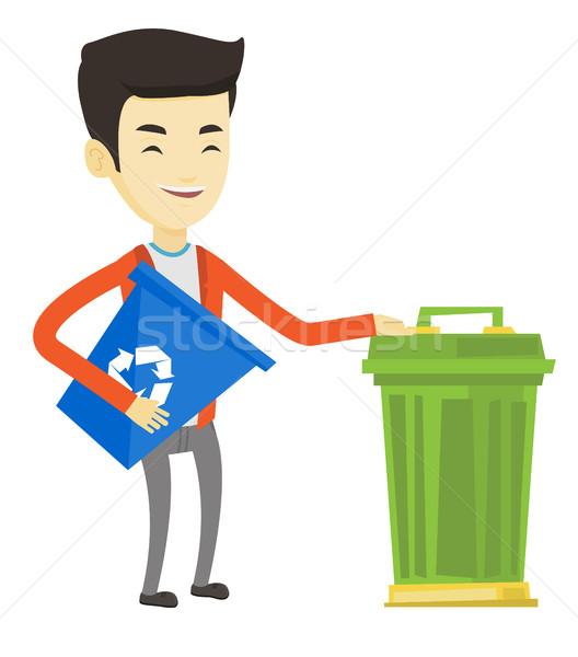 Homem reciclar cesto de lixo jovem asiático Foto stock © RAStudio