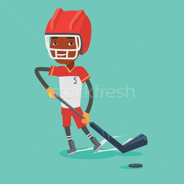 Ice hockey player vector illustration. Stock photo © RAStudio