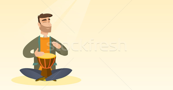 Man playing the ethnic drum vector illustration. Stock photo © RAStudio