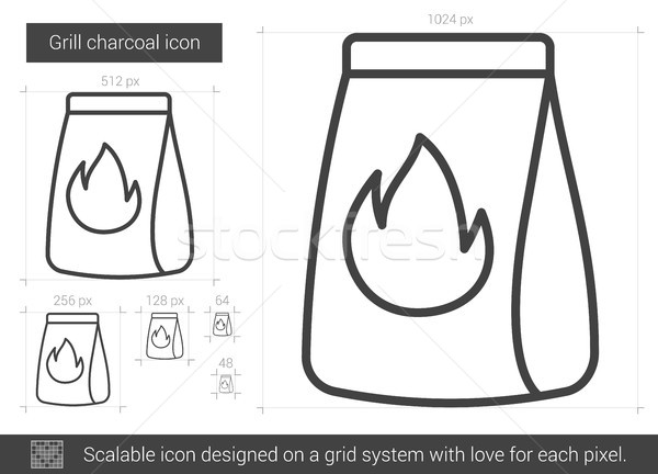 Grill charcoal line icon. Stock photo © RAStudio
