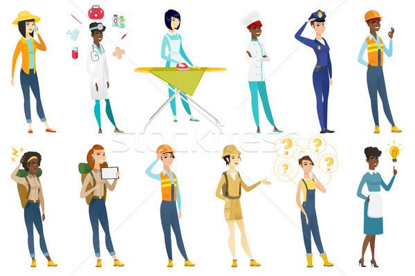 Zawodowych kobiet wektora zestaw zawód Zdjęcia stock © RAStudio