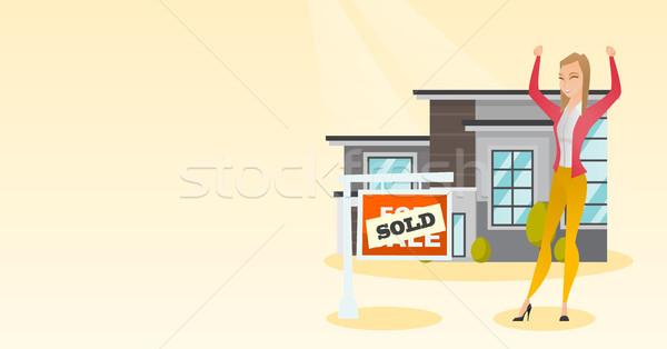 Makelaar uitverkocht opgewonden kaukasisch permanente Stockfoto © RAStudio
