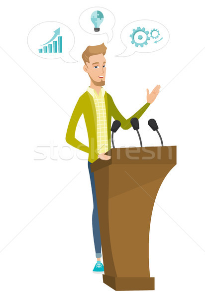 Caucasian politician giving a speech from tribune. Stock photo © RAStudio