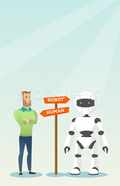 Choice between artificial intelligence and human. Stock photo © RAStudio