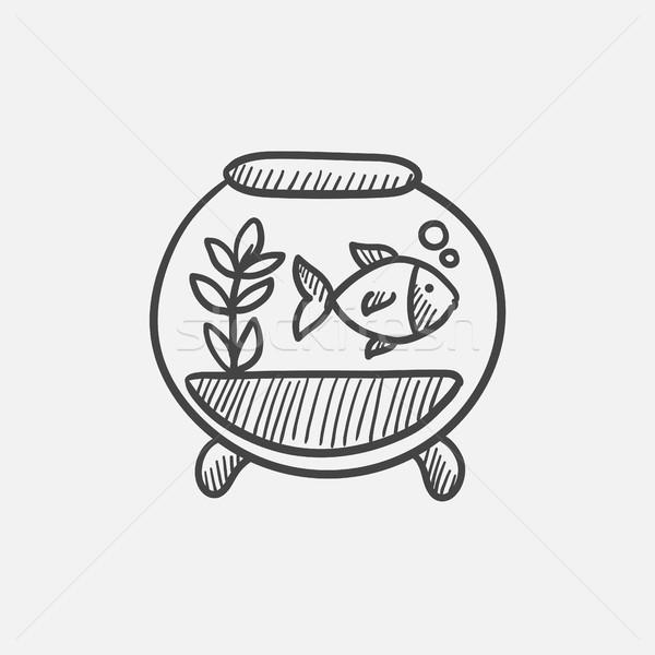 Balık akvaryum kroki ikon web Stok fotoğraf © RAStudio