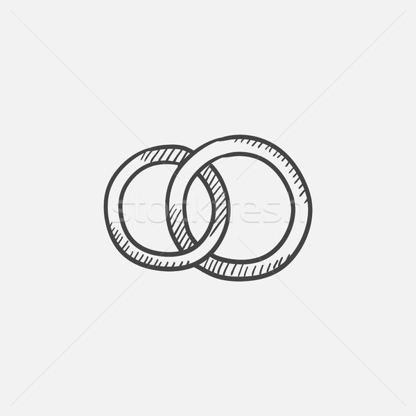 обручальными кольцами эскиз икона веб мобильных Инфографика Сток-фото © RAStudio