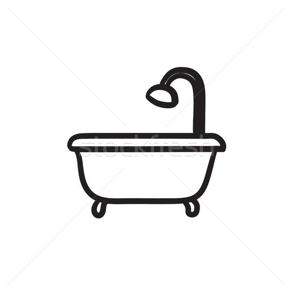 バスタブ シャワー スケッチ アイコン ベクトル 孤立した ストックフォト © RAStudio
