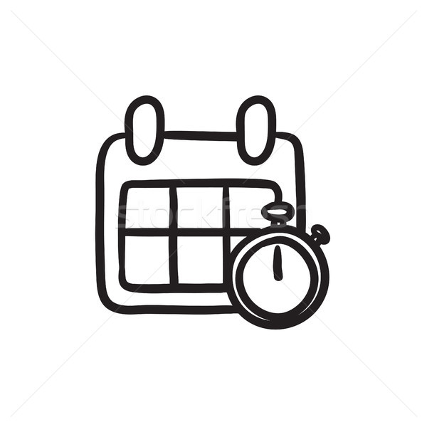 Calendar and stopwatch sketch icon. Stock photo © RAStudio
