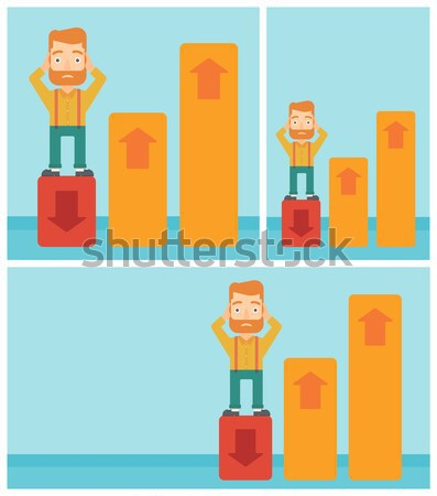 Bankrupt standing on chart going down. Stock photo © RAStudio