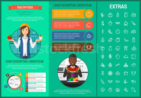 Healthy food infographic template, elements, icons Stock photo © RAStudio