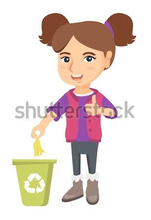 Kislány dob banán héj újrahasznosítás tároló Stock fotó © RAStudio