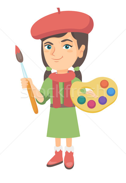 Girl dressed as an artist holding brush and paints Stock photo © RAStudio