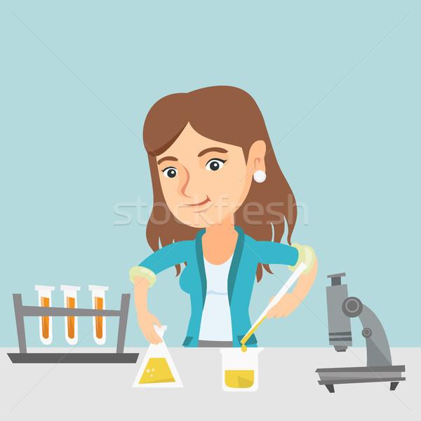 Diák kísérlet laboratórium osztály kaukázusi női Stock fotó © RAStudio