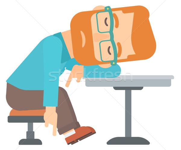 Homme dormir bar barbe table Photo stock © RAStudio