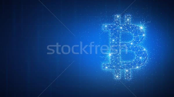 çokgen bitcoin sikke afiş simge stil Stok fotoğraf © RAStudio