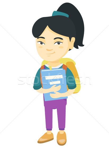 Asian schoolgirl with backpack and textbook. Stock photo © RAStudio