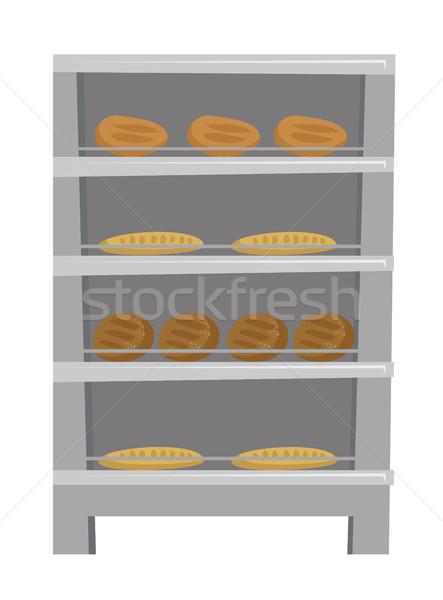 Bread and loaf displayed on shelves vector cartoon Stock photo © RAStudio