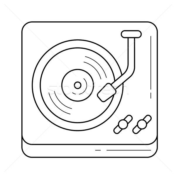 Draaitafel lijn icon vector geïsoleerd witte Stockfoto © RAStudio